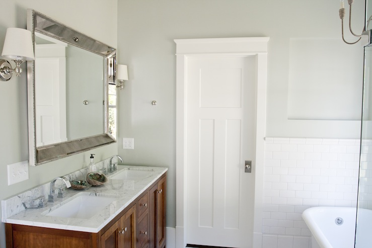 ... benjamin Blackwelder double bathroom vanity with marble counter top,  Restoration Hardware Venetian Beaded Beveled Mirror, subway tiles  backsplash and ...