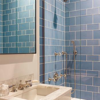 Blue Glass Shower Tile frameless glass shower surround design ideas