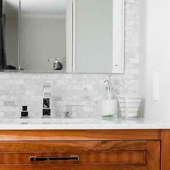 Marble Brick Tile Backsplash, Transitional, bathroom, Tiek Built Homes