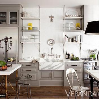 Gray Kitchen, Transitional, kitchen, Benjamin Moore Galveston Gray, Veranda