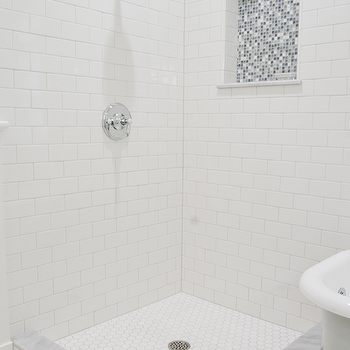 corner shower - White Subway Tile Shower