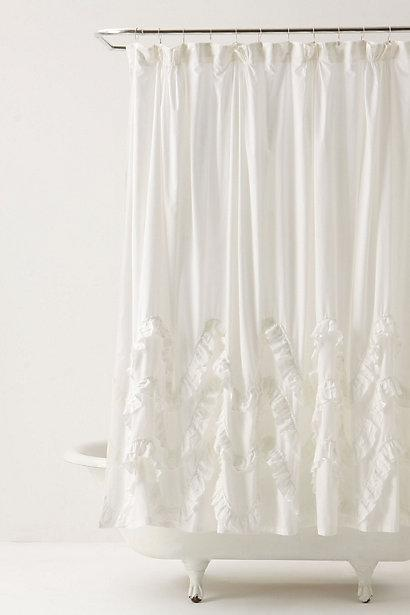 waves of ruffles shower curtain. Black Bedroom Furniture Sets. Home Design Ideas