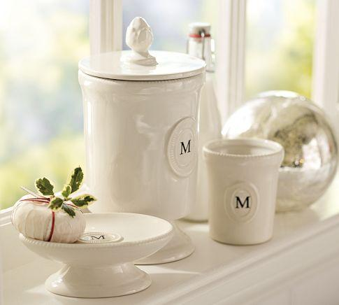 Ceramic Monogrammable Bath Accessories Pottery Barn