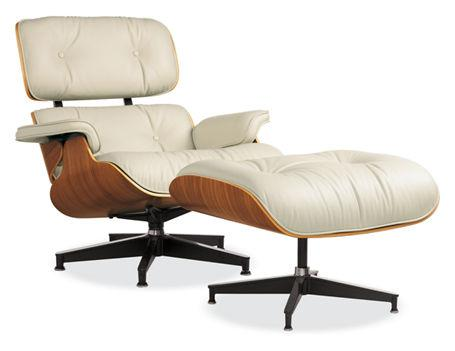 Eames Cream Leather Lounge Chair Ottoman