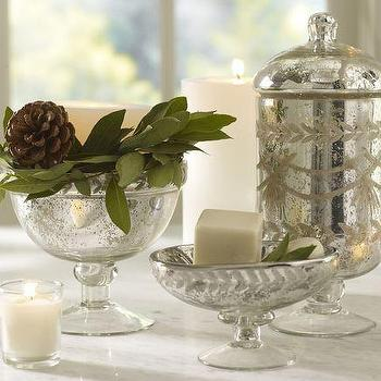 Etched Mercury Glass Bath Accessories, Pottery Barn