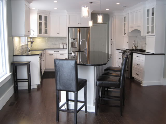 Angled Kitchen Island Transitional Kitchen