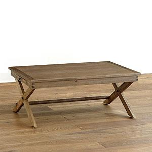 Walker Wood Top Brass Base Campaign Coffee Table