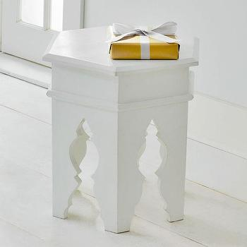 Moroccan Stool, White, Side Tables & Pedestals, Wisteria