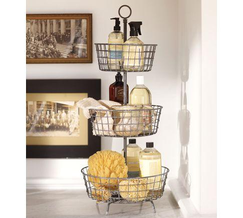 Tiered Bath Storage Vintage Iron Finish Pottery Barn
