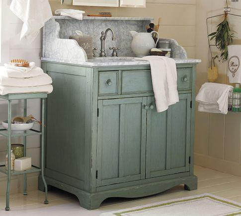 Lucca high backsplash single sink console blue pottery barn for Single sink consoles bathroom