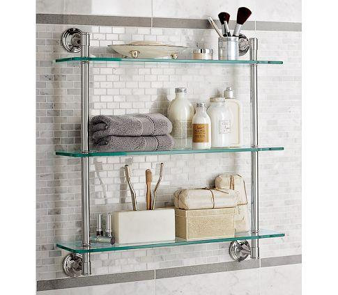 Mercer triple glass shelf pottery barn for Bathroom glass shelves