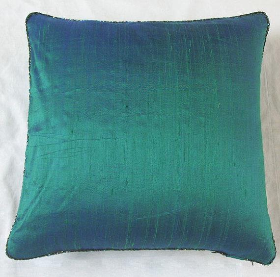 Jade Green Throw Pillow Cover With Bead Trim 18 Inch By