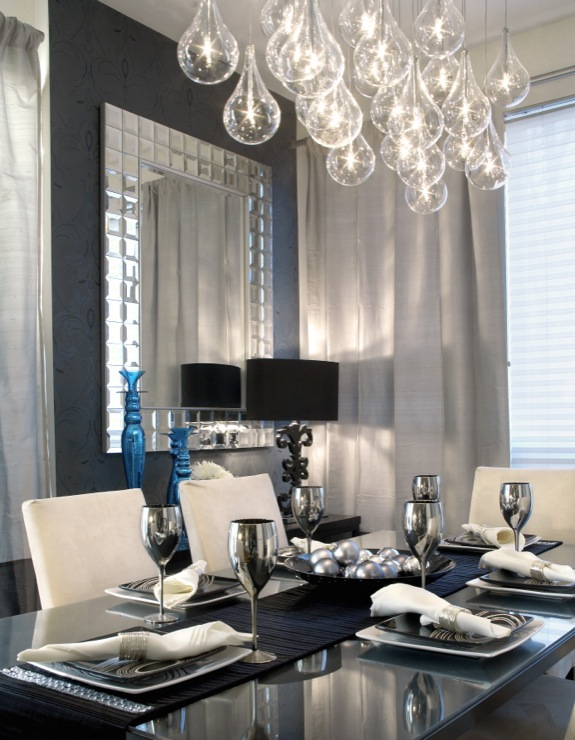 tear drops chandelier contemporary dining room lux design. Black Bedroom Furniture Sets. Home Design Ideas