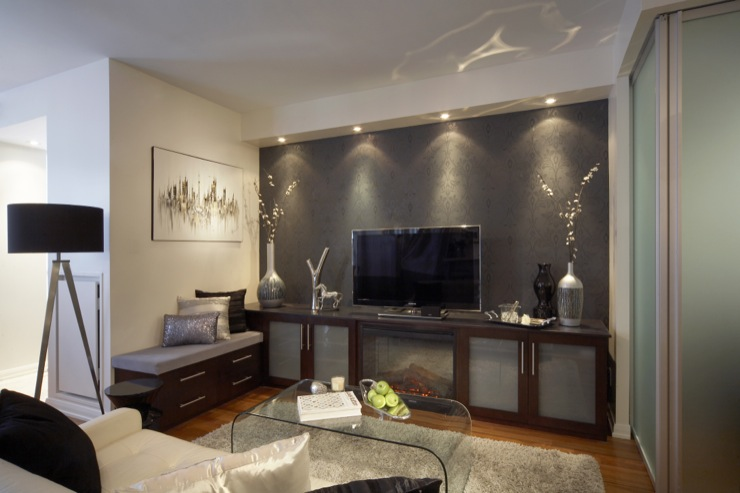 Frosted glass media cabinet contemporary media room lux design - Modern condo interior design ideas ...