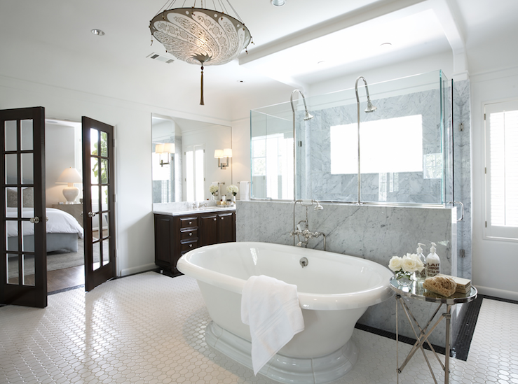 Tub in bedroom transitional bathroom samantha todhunter for Elegant master bathroom ideas