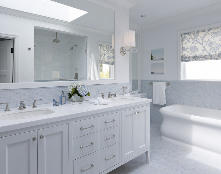 white vanity double sink. Blue Backsplash  Transitional bathroom Artistic Designs for Living