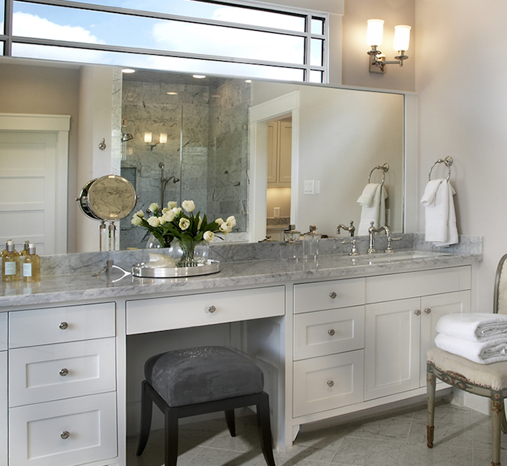 Built In Makeup Vanity Traditional Bathroom Ashley