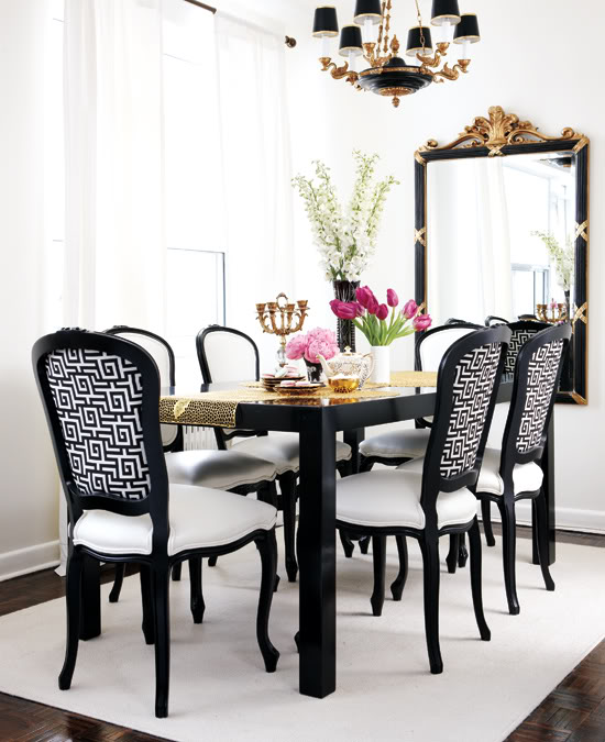 Gold leaf dining chair with black dining table transitional dining room - Black dining room tables ...