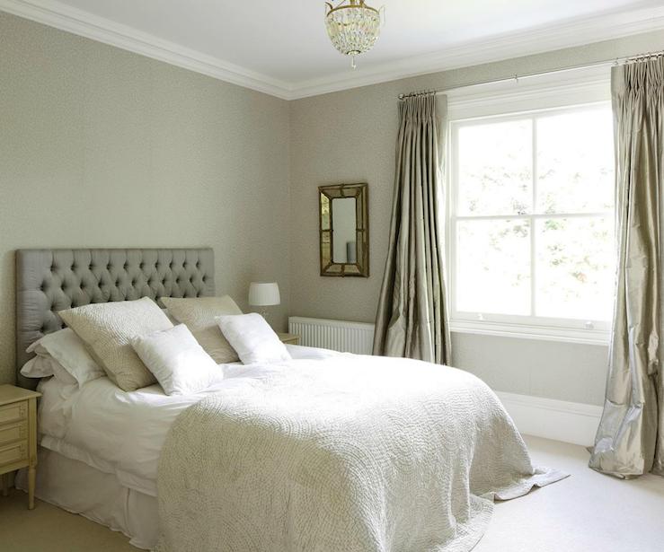Platinum gray velvet headboard design ideas for Velvet bedroom designs
