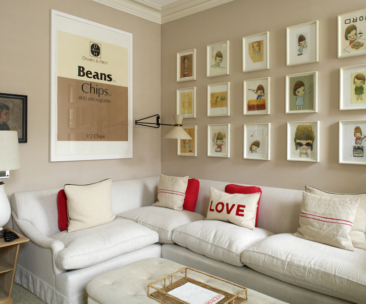 Ivory Wall Color Art Gallery Over Sofa  Contemporary  Living Room  Hgtv