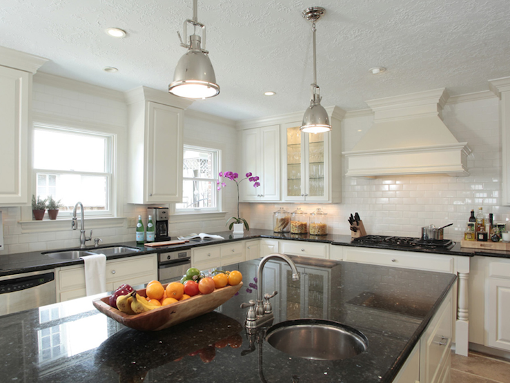 Black Granite Countertops Transitional Kitchen Ashley Goforth - Black kitchen pendants