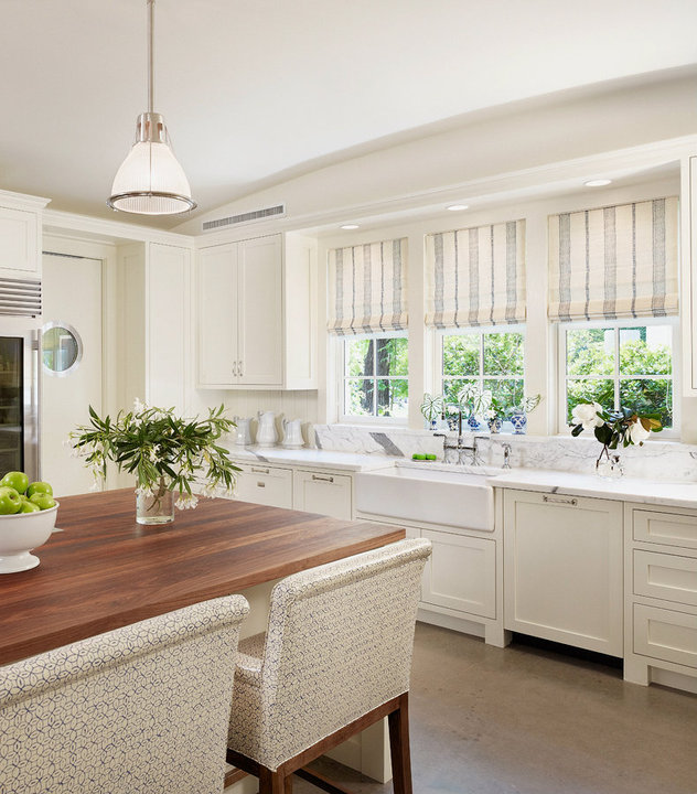 Striped Roman Shades Traditional Kitchen Dillon Kyle