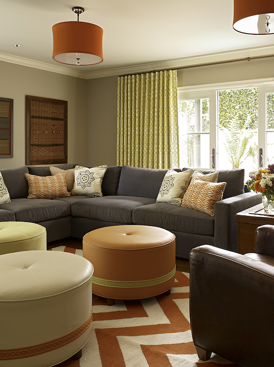 Gray sectional contemporary living room artistic for Grey orange living room