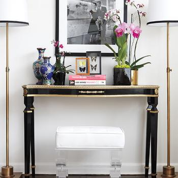 Brass And Lucite Console Table Design Ideas