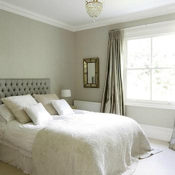 Gray Velvet Tufted Headboard, Eclectic, bedroom, 1st Option