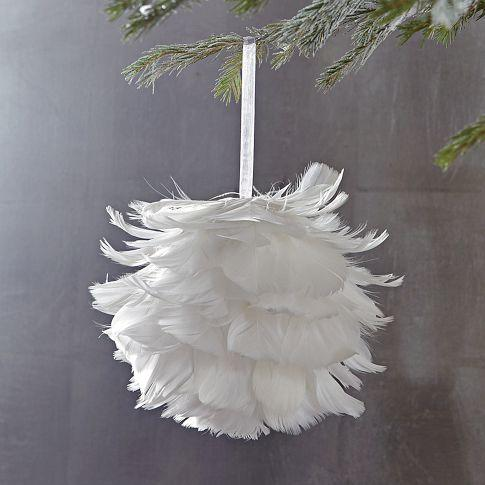 West Elm Christmas Ornaments.Feather Ball Ornament West Elm