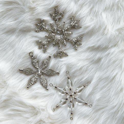 Beaded Snowflake Ornaments, west elm