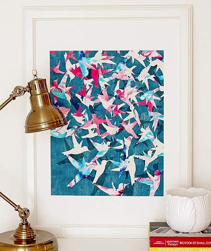 bamboo floor bathroom color migration blue colorful abstract bird 10172
