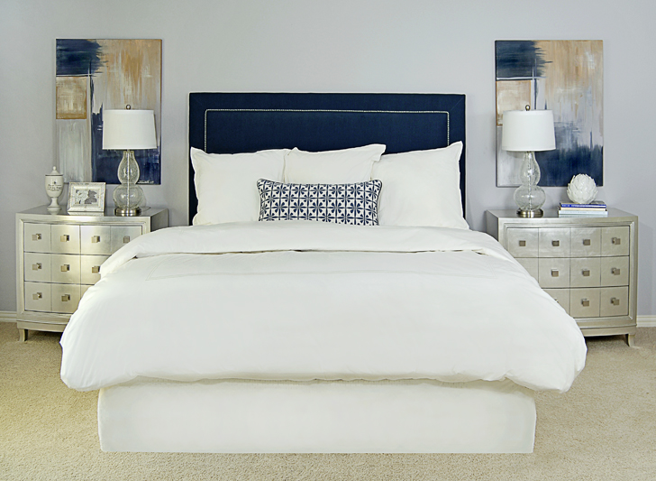 Navy Upholstered Headboard Transitional Bedroom EJ