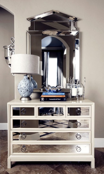 White Mirrored Furniture Contemporary Entrance Foyer