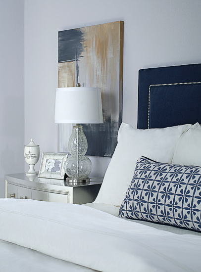 Blue Velvet Headboard Contemporary Bedroom EJ Interiors