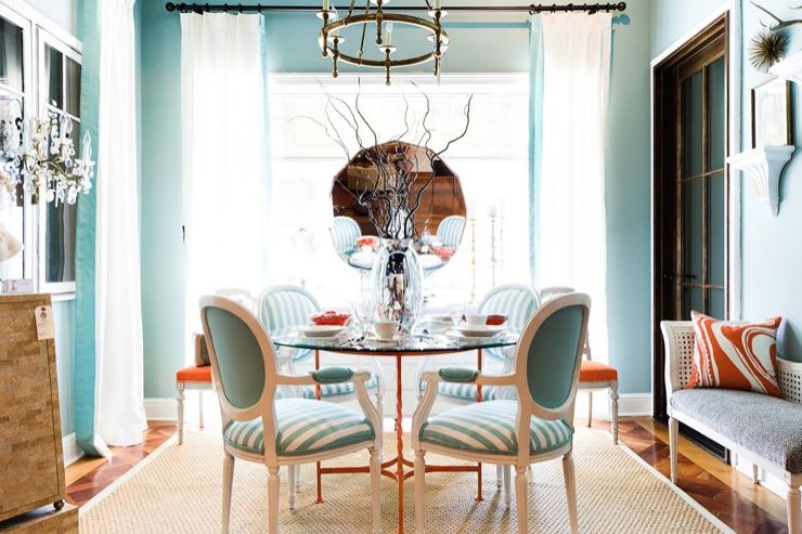 Gentil Turquoise Dining Room View Full Size
