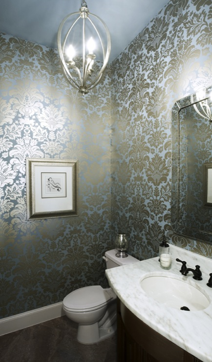 Damask Metallic Wallpaper Contemporary Bathroom Ej