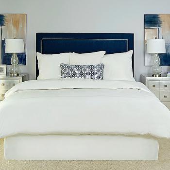 Navy Upholstered Headboard, Transitional, bedroom, EJ Interiors