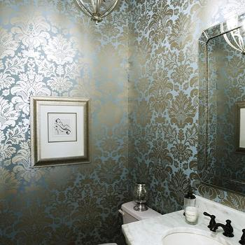 Damask Metallic Wallpaper, Contemporary, bathroom, EJ Interiors