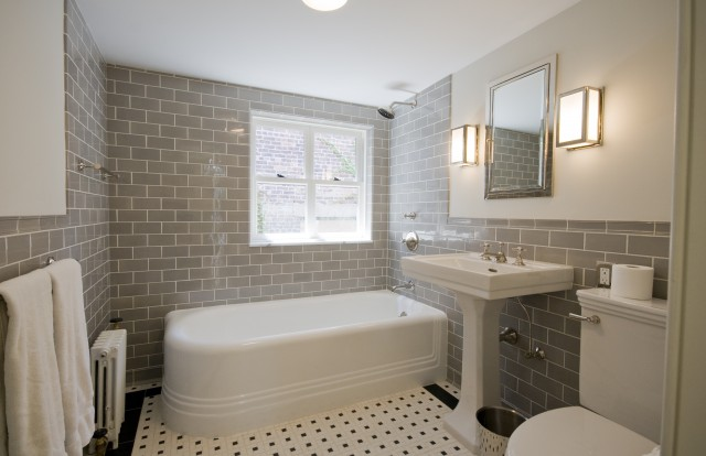 Mix Of Modern U0026 Vintage In This Bathroom With Gray Subway Tiles Backsplash,  Glossy White Restoration Hardware Park Pedestal Sink, Polished Chrome  Recessed ...