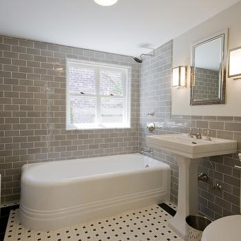 Subway tile shower contemporary bathroom benjamin for Bathroom ideas 1930s semi