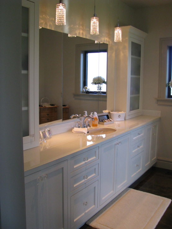 White Inset Cabinets Cottage bathroom Wesley Ellen Design