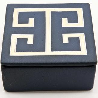 Zhush || Blue and Gold Greek Key Box