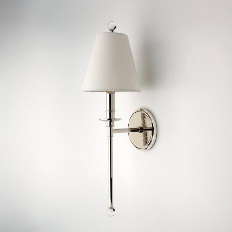 Wall Sconces With Half Shades : Wall Mounted Single Arm Sconce with Fabric Half Shade Products - Waterworks