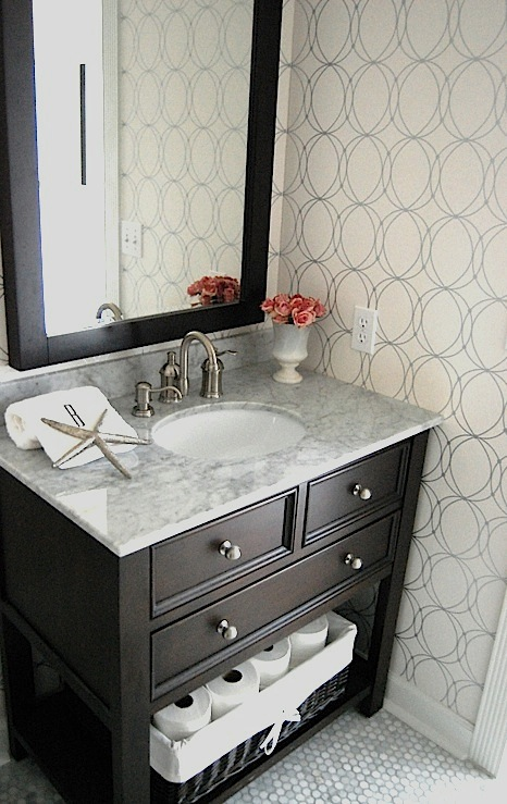 Powder Room Wallpaper Contemporary Bathroom
