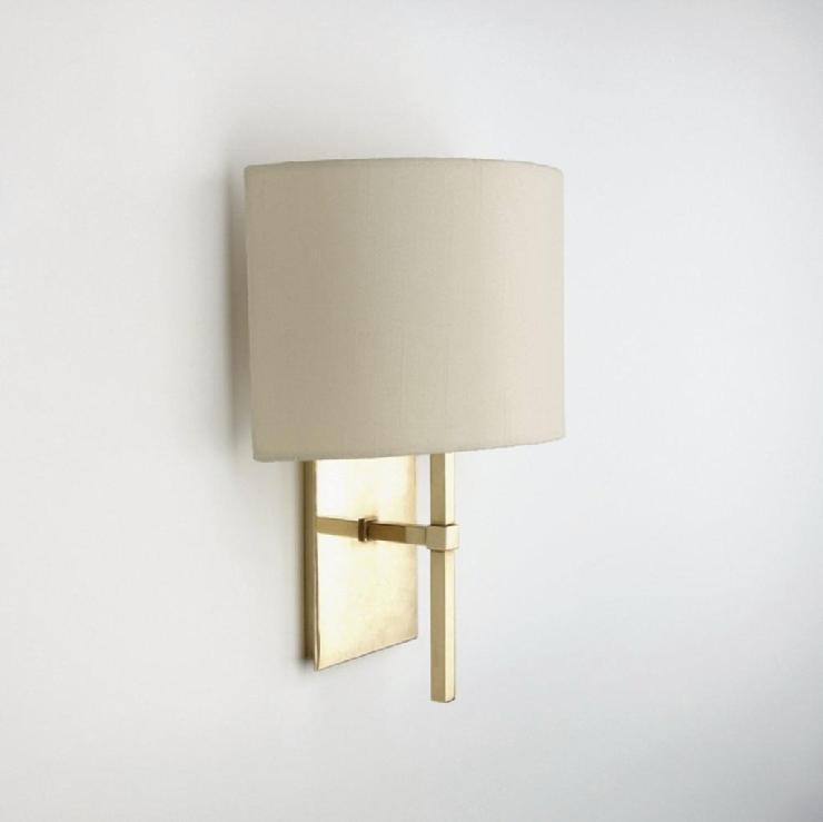 Wall Sconces With Fabric Shades : Wall Mounted Single Arm Sconce with Fabric Half Shade Products - Waterworks