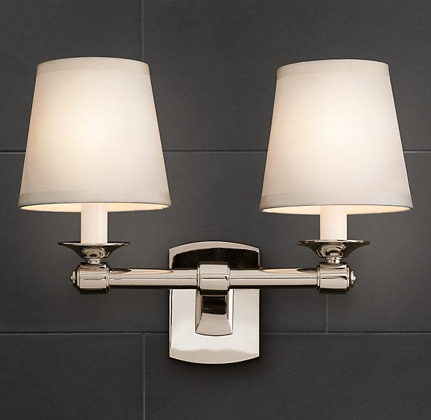 Campaign double sconce bath sconces restoration hardware Restoration bathroom lighting