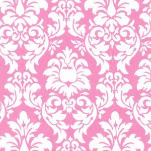 Pink and White Damask Fabric, Pink Damask Fabrics, Childrens Fabric, Girls Fabric