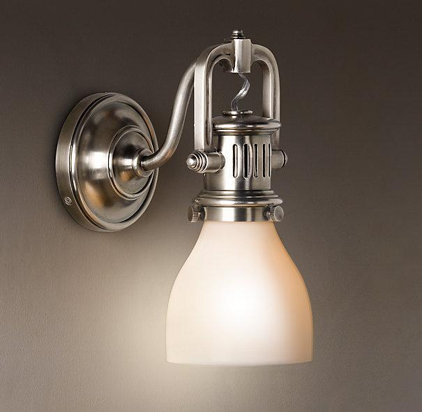1920s factory sconce bath sconces restoration hardware Bathroom sconce lighting ideas