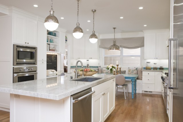 White Kitchen Island Bench striped island bench - transitional - kitchen - benjamin moore
